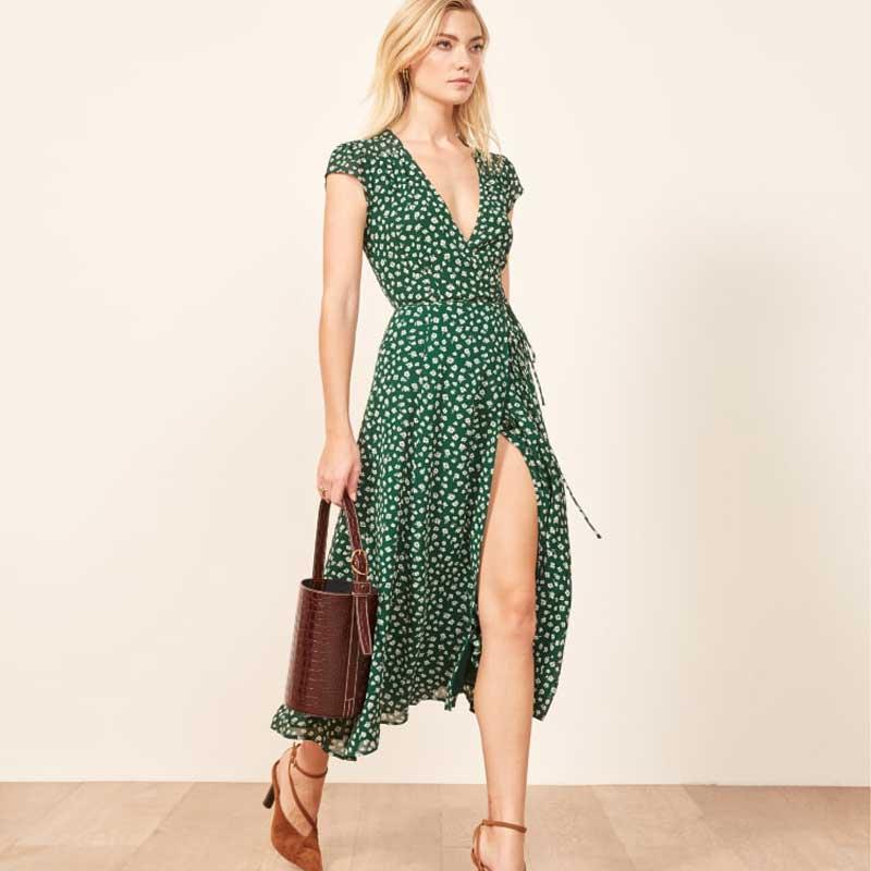 New Women Boho Vintage Dress Summer 2019 Dot Printed Short Sleeve Dress Holidy Party Beach Holiday Split Dress Mid-calf Dresses Women's Clothing