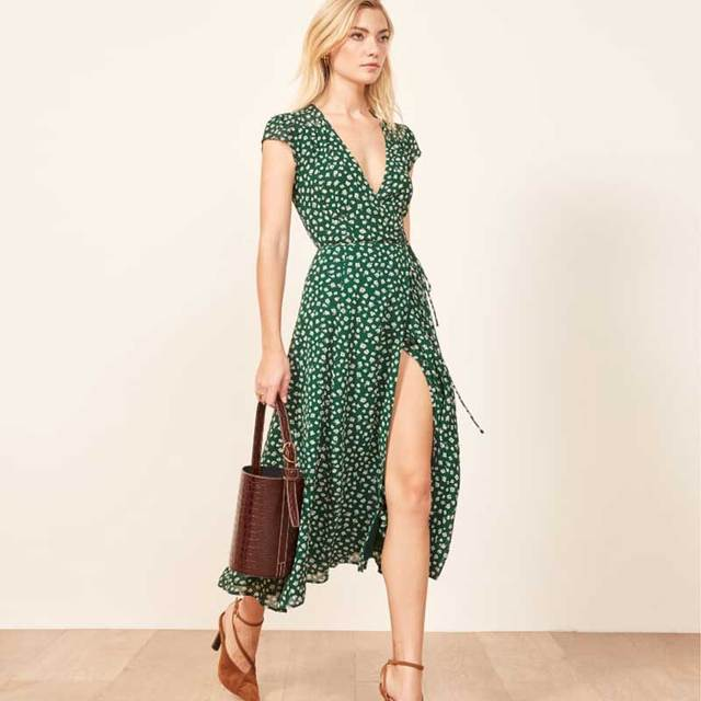 BOHO INSPIRED green floral print wrap dress high slit v-neck short sleeve  2019 spring summer dress elegant chic long women dress