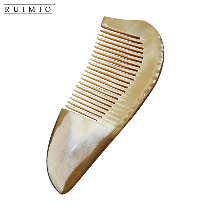 RUIMIO Natural Ox Horn Anti-Static Massage Hair Comb With Handle Hair Styling Tool For Salon Hairdressing Styling Tamer Random