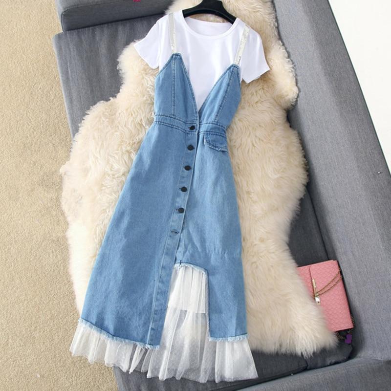 Denim Mesh Patchwork Slim Dress
