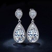 Vintage Shine Water Drop Bridal Long Earrings For Women Silver 925 Jewelry CZ Diamond Dangle Earring
