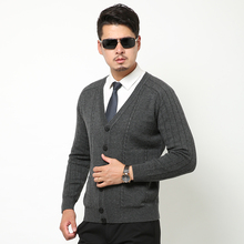 Sweater Man 100% Pure  Knitted Winter Warm Cardigans V-neck Long Sleeve Standard Sweaters Male Jumper Puls Size
