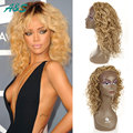 "130% density 20"" Rihanna's Hairsyle Curly Blonde Wig Perruque Cosplay Synthetic Lace Front Wigs With Baby Hair Blonde Ombre Wig"