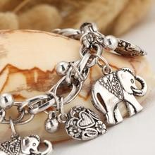 IF YOU Vintage Silver Color Elephant Charm Bracelet For Men