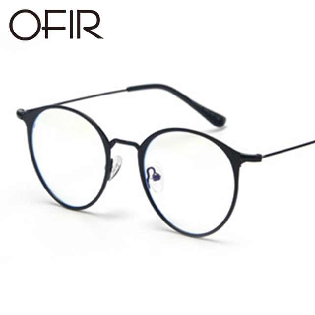 ed973d13300f9 OFIR 2017 Flat Glasses Round Flat Metal Frame Korean Glasses Brand Clothing  Designer Unisex Can Equipped With Myopic Glasses