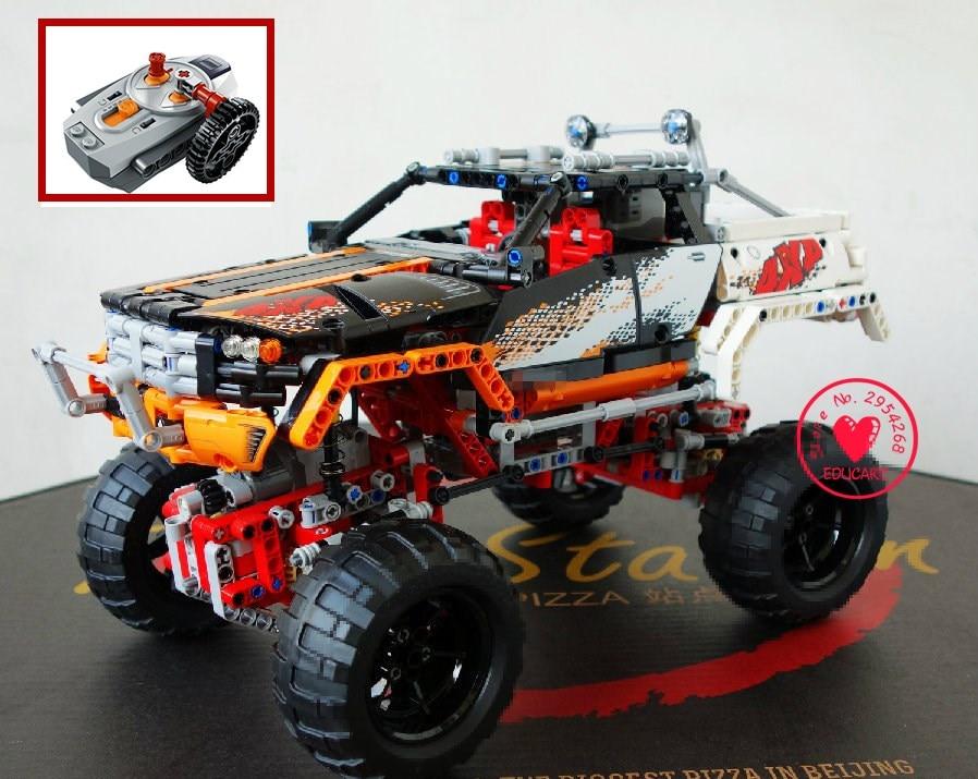 新しい RC トラックモータ電源機能レーシングカー 4 × 4 クローラ車両フィットテクニックモデルビルディングブロックレンガキットおもちゃ  グループ上の おもちゃ & ホビー からの ブロック の中 1
