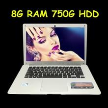 14 дюймов Windows7/8.1 ноутбук в тел Celeron J1900 8 г ОЗУ 750 г HDD 2.0 ГГц 4 ядра WI-FI HDMI Веб-камера USB3.0 Ultrabook