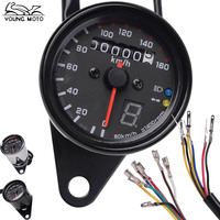 Motorcycle Dual Speedometer Odometer Readable Speed Meter Gauge Black Chrome D12V LED Backlight Indicator Instruments For