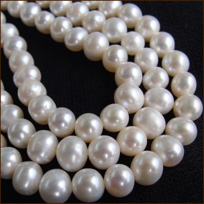 все цены на Wholesale AA+ 6.5-7.5mm Near Round genuine white freshwater Pearl loose beads strand 15