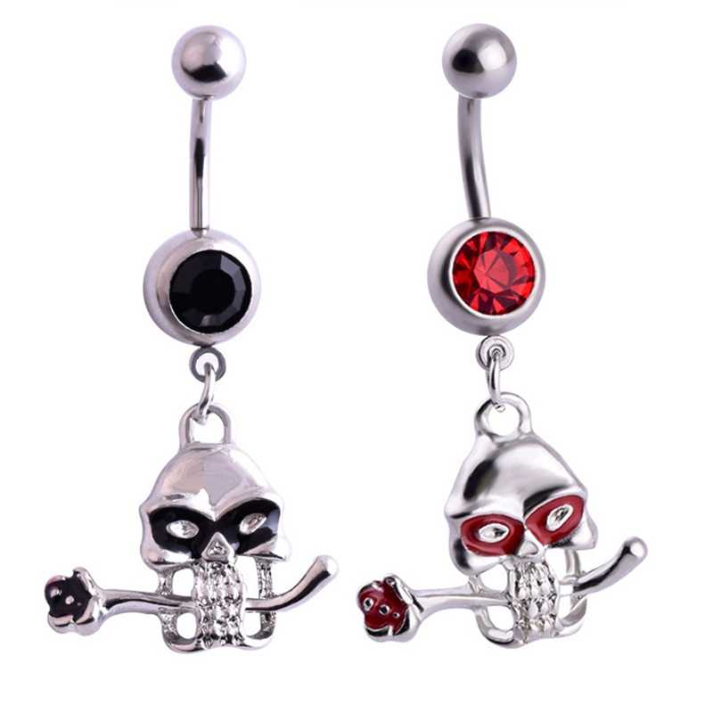 New Brand Stainless Steel Crystal Body Jewelry Skull Belly Button Ring Body Piercing Navel Piercing Blak Red Color Halloween