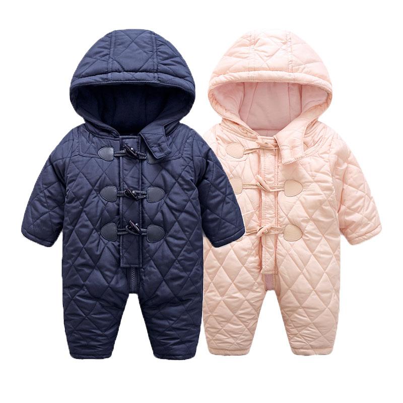 Baby Snowsuits Cotton Hooded Jumpsuit Boys Girls Warm Coats Kids Clothes Infantil Newborn Windproof Rompers Outerwear Jumpsuits