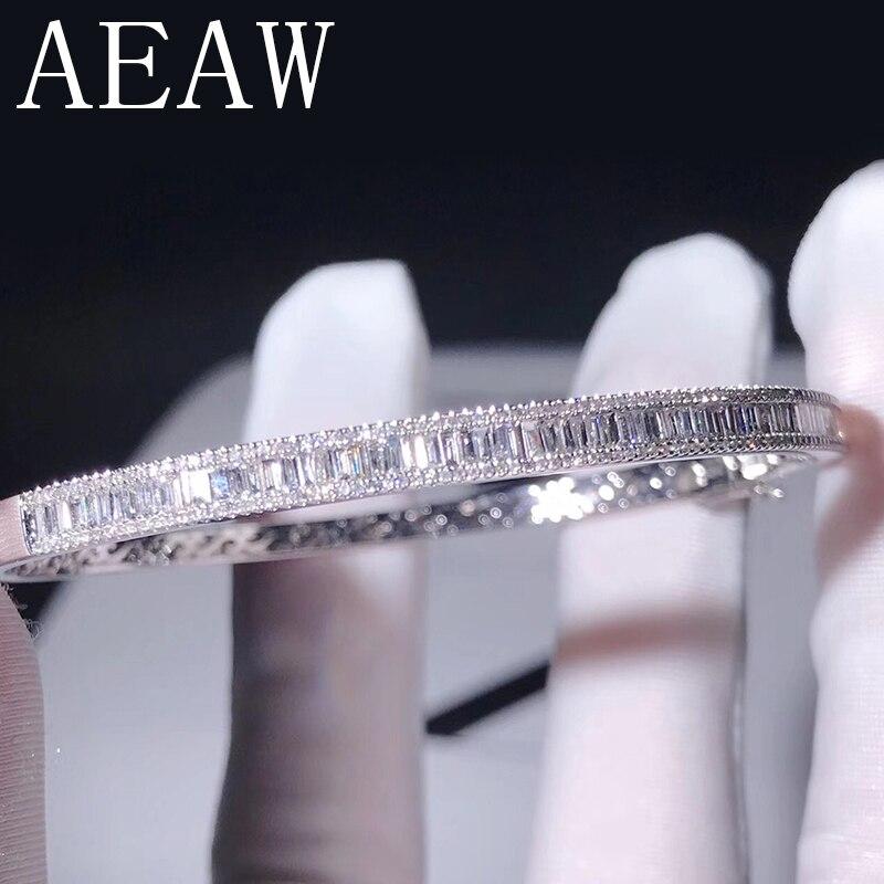 AEAW Lab Grown Diamond Moissanites Engagement Bangle Solid 10K White Gold Bracelets For Women Wedding Fine Jewelry aeaw lab grown diamond moissanites engagement bangle solid 10k white gold bracelets for women wedding fine jewelry