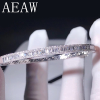 AEAW Lab Grown Diamond Moissanites Engagement Bangle Solid 10K White Gold Bracelets For Women Wedding Fine Jewelry