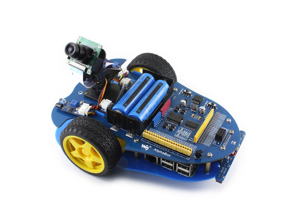 Waveshare AlphaBot robot building kit Smart Car Kit for Raspberry Pi 3 Model B+ (B Plus) includes Raspberry Pi 3 Model B+ Camera waveshare raspberry pi robot building kit include raspberry pi 3b alphabot rpi camera ir control line tracking speed measuring