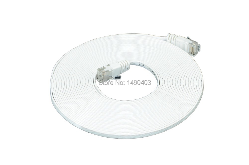 High Speed Cable Cat6 RJ45 5m  White Ultra-Thin Flat Patch Network Internet Cat.6 UTP /Lower Shipping For More Pieces !