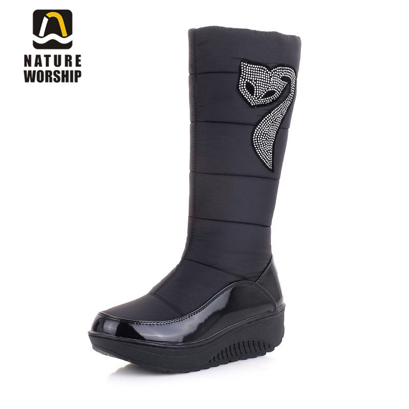 Hot sales women shoes warm Cotton Down waterproof boots Fashion Crystal snow boots fur Slip-On platform Knee-High winter boots image