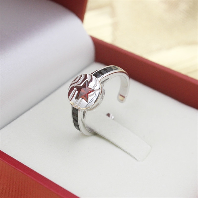925 Silver Winter Soldier Ring Blue Couple Couple Lovers rings Adjustable