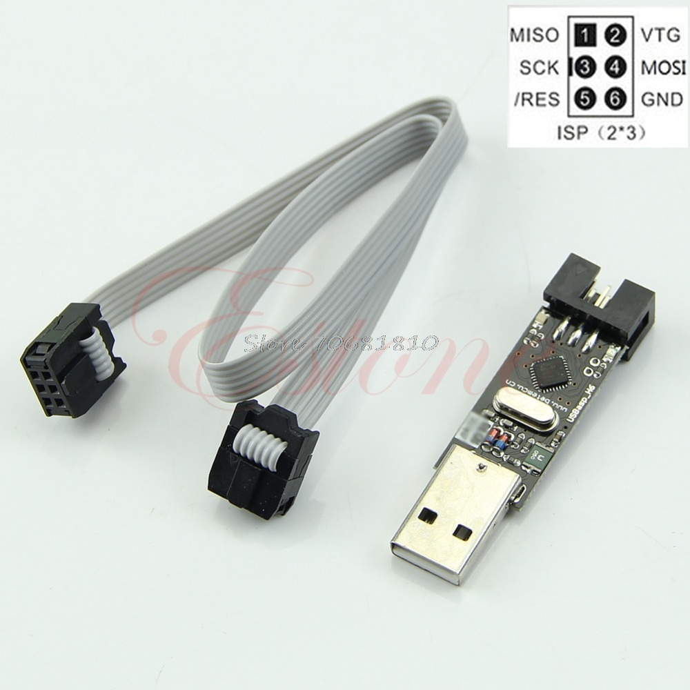 USB ISP 5V USBasp AVR Programmer ATMEGA8 ATMEGA128+<font><b>6PIN</b></font> <font><b>Wire</b></font> Support For Win7 Drop Shipping image