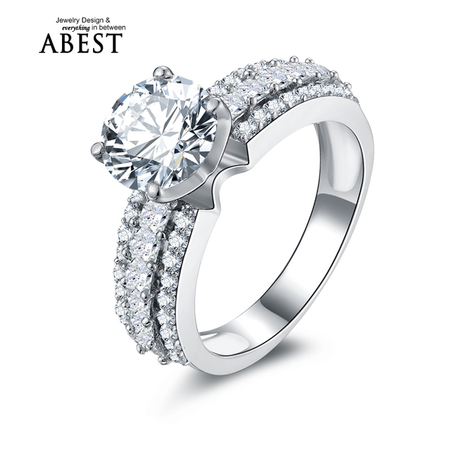 New Classic 2 Carat nscd Simulated Diamond Ring Solitaire Engagement Wedding Ring 925 Sterling Silver Triple Row Tiny Sona Ring