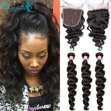 Brazilian Virgin Hair With Closure 3 Bundles Human Hair Loose Wave With Closure 5×5 Rosa Queen Hair Products With Closure Bundle