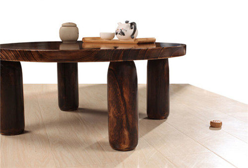 Japanese Antique Wooden Tea Table Paulownia Wood Traditional Asian Furniture  Living Room Low Coffee Table Round Table 80cm Round
