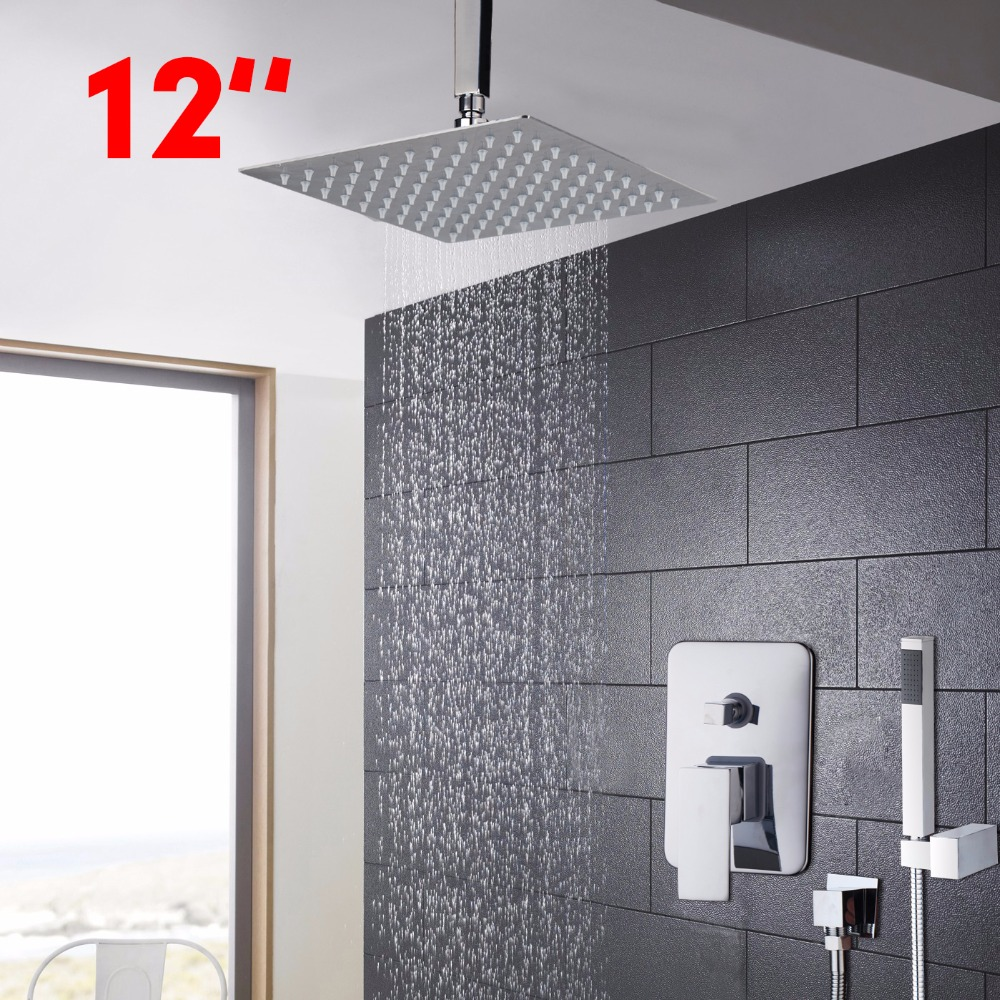 Shower 12 inch Bathroom Faucet Rainfall Shower Heads Hot Cold Water Mixer Positive Shower Faucet