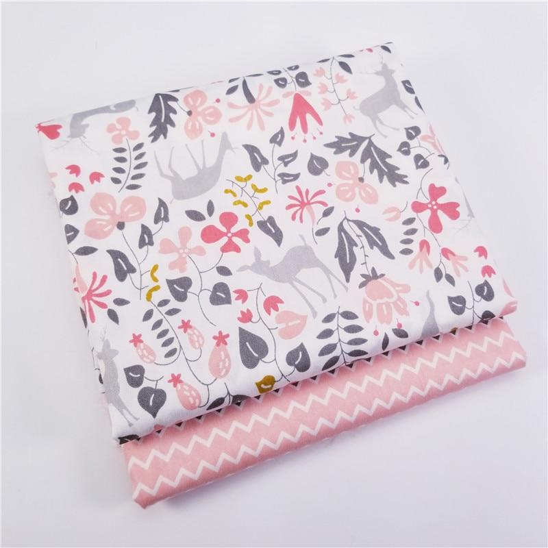 100% хлопчатобумажная ткань с принтом оленя, пэчворк, саржевая ткань для «сделай сам», шитье, Квилтинг, материал на четверть четверти для малы...