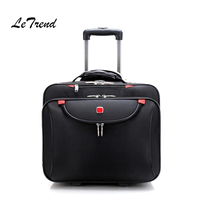 купить Letrend Business Oxford Rolling Luggage Casters 18 inch Men Multifunction Carry On Wheels Suitcases Trolley Bag Travel Bag Trunk по цене 6228.05 рублей
