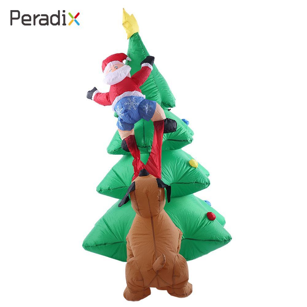 2018 Santa Climbing Tree Inflatable Puppy Bites Santa Hotels 180cm Decoration Inflatable Christmas Tree Props Drop Shipping rhinestone christmas santa tree star brooches