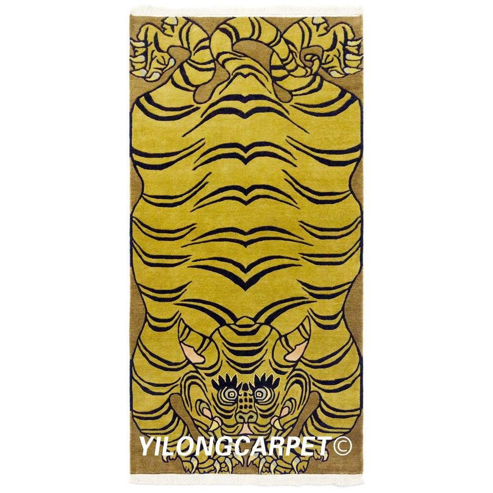 YILONG 3'x6' Handmade Wool Area Carpets Tibetan Tiger