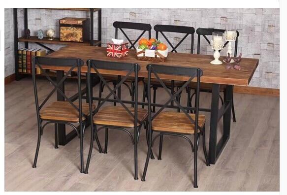 Retro mesa de comedor sillas de hierro americano mesa de for Como hacer sillas de madera para comedor