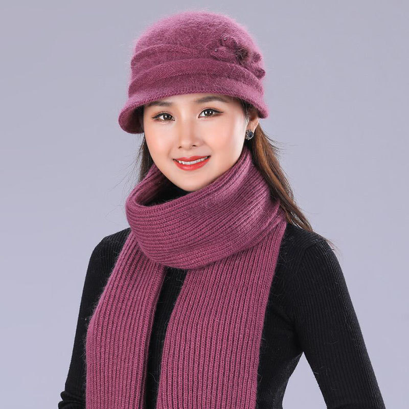 New Warm Hood Set Crochet Hat Scarf With Rabbit Hair Woman Knit Headwear Thicken Cap Gift Female Twist Cloth Soft Shawl