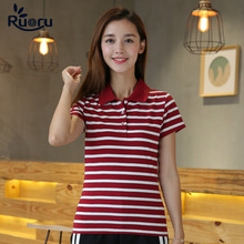 Ruoru M- 6XL Large Size Korean Style Cute Striped Polo Shirt Casual Girl Slim Cotton Women Lapel Femme