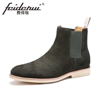 Plus Size New Arrival Genuine Leather Men S Chelsea Ankle Boots Round Toe Cow Suede Cowboy