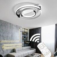 現代のledシーリングライトリビングルームの寝室の天井ライト北欧黒、白家の装飾のためランプレストランライト