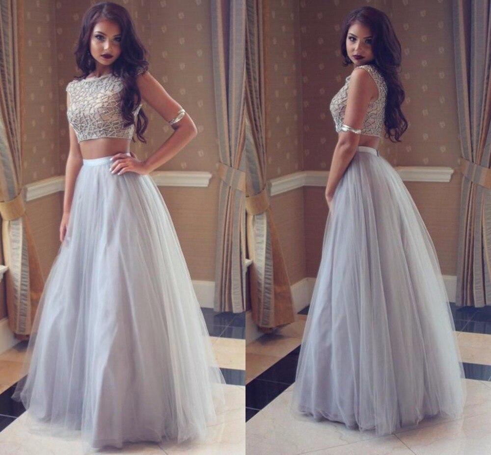Elegant Two Pieces Lace Arab Wedding Dress Sheath 2017: 2017 Silver Grey Arabic African Two Pieces Prom Dresses