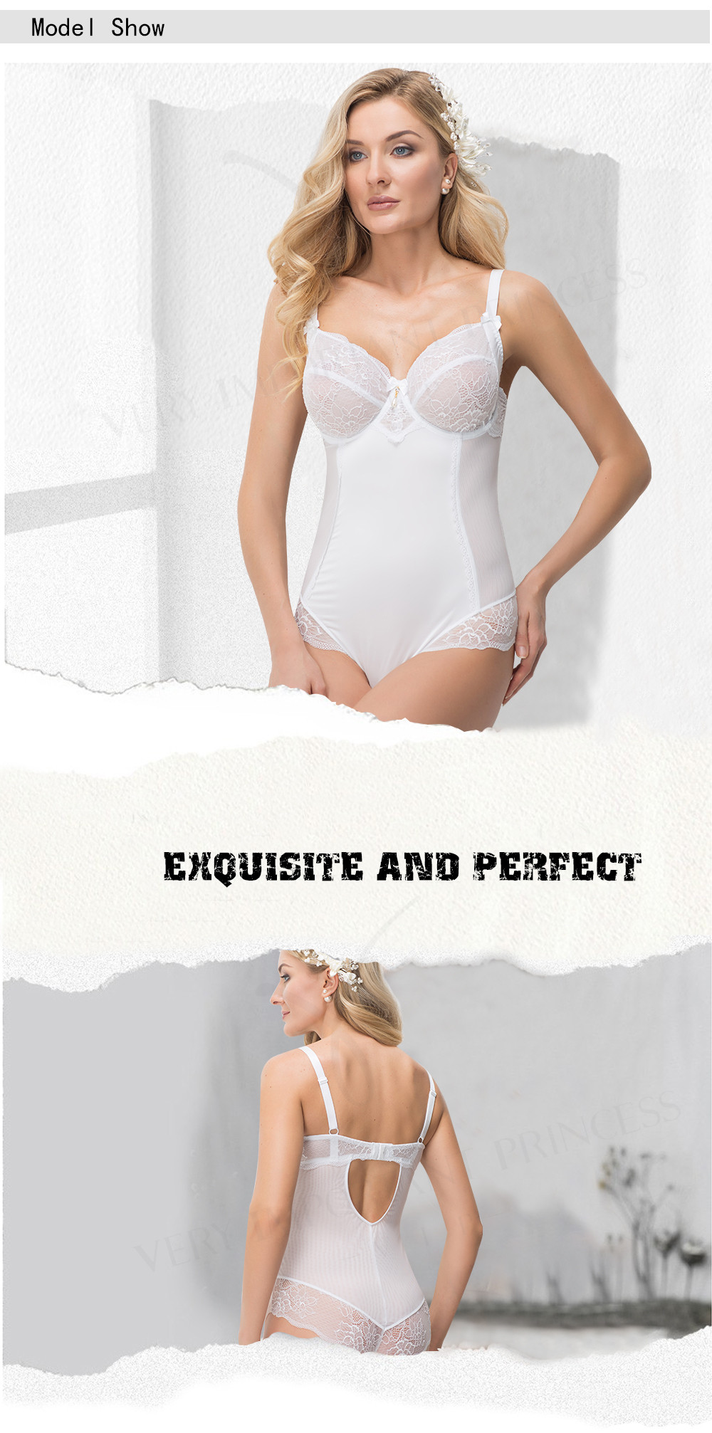 4f035949c Lace Sexy Underwire Lingerie Full Cup Bodysuit Women Adjusted Straps ...