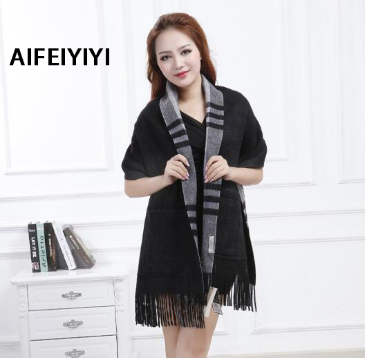 2018 fashion autumn and winter ladies cashmere fringe shawl European and American lattice long thick warm pocket scarf