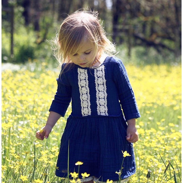 e2755a483 New 2018 Autumn Baby Girls Dress Lace European and American Children's  Simple Cotton Dresses Baby Girls Clothes Kids Dresses