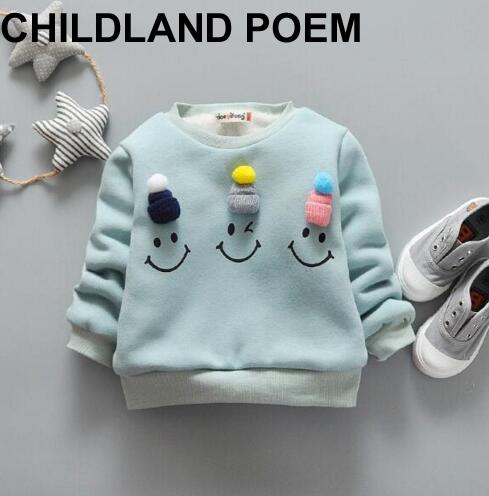 2017 Primavera de lã quente do bebê roupas de menina Camisola Dos Miúdos 0-4A emoji Moletons dos desenhos animados roupas das meninas dos meninos da forma T shirt tops