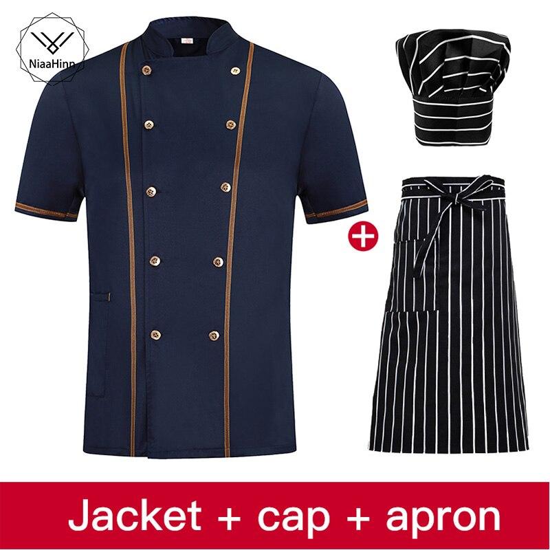Chef Uniforms Clothing Short Sleeve Food Services Cooking Clothes Big Size Uniform Chef Jackets Unisex Restaurant Uniform Hat