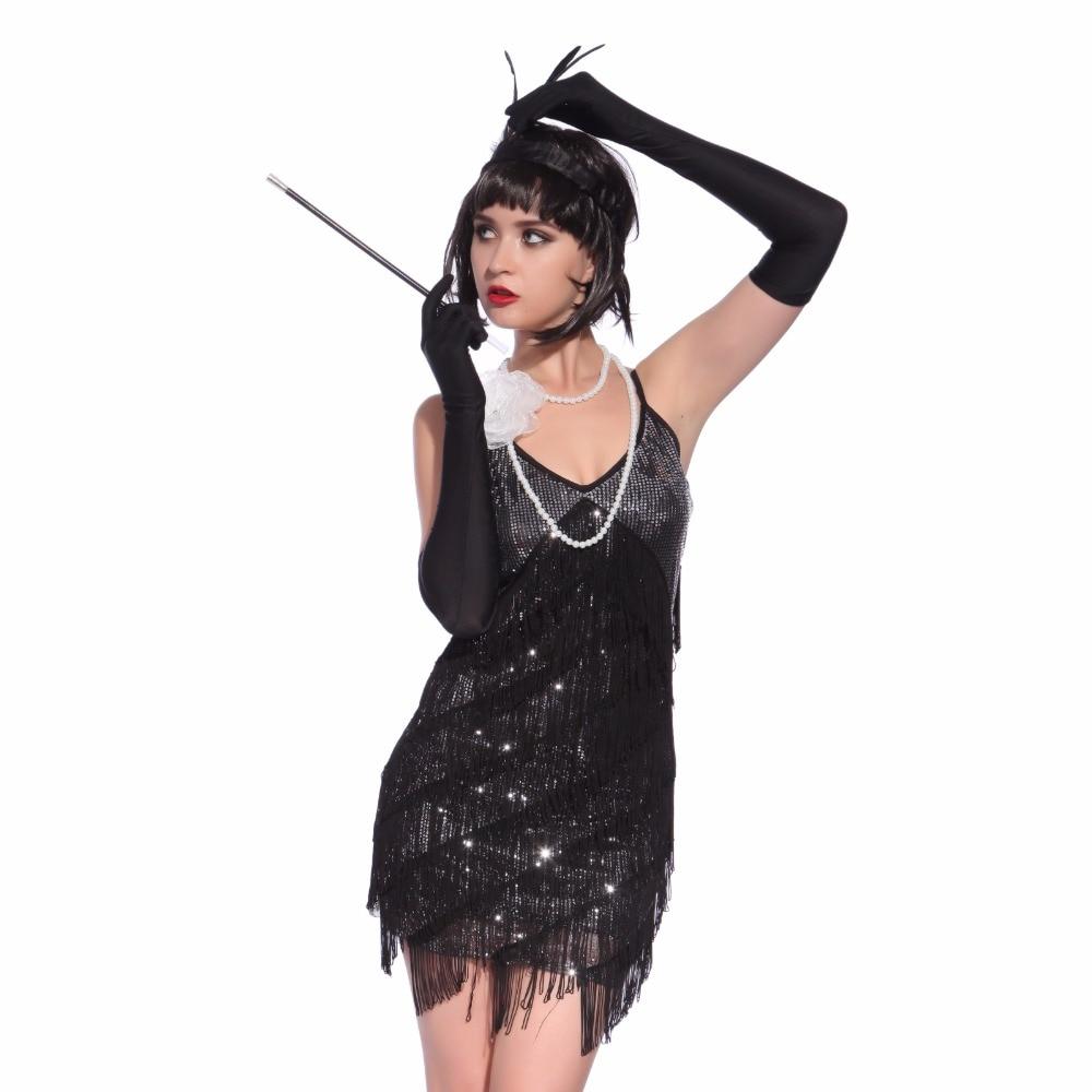 women's 1920s gatsby flapper costume vintage spaghetti