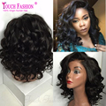 Side Part Virgin Glueless Short Wavy Brazilian Full Lace Wigs Human Hair Short Front Lace Wigs for Black Women with Baby Hair