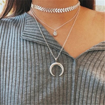 Necklace chain for women Multi-storey Crescent Pendant Clavicular Chain Metal Necklaces collares mujer Collier ras de cou A15#N image