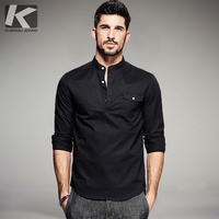 KUEGOU 2017 Autumn Mens Shirts 100 Cotton Black Color Brand Clothing For Man S Long Sleeve