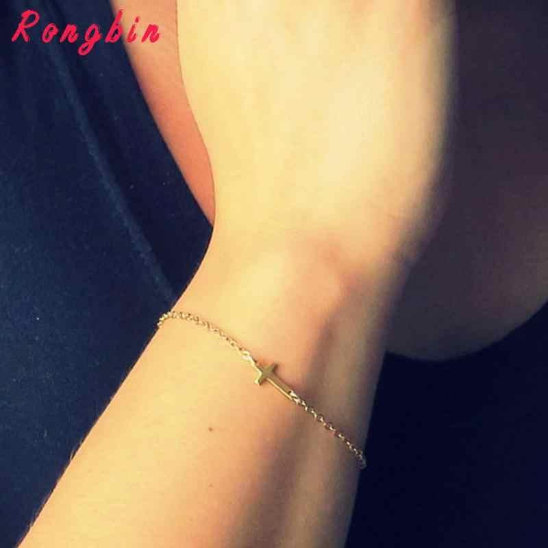 2019 złoty i srebrny łańcuszek miłość jezus bransoletki dla kobiet urok Cruz bransoletka Femme pulseira feminina pulseras prosta biżuteria Bijoux
