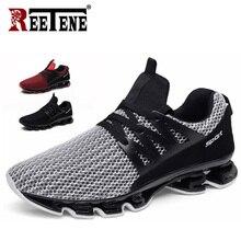 REETENE zapatillas de deporte informales para hombre, zapatos masculinos de malla, cómodos, a la moda, para primavera y exteriores, talla 36 48