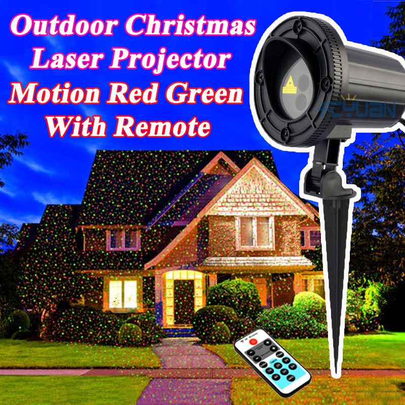 Waterproof Holiday Light Outdoor Christmas Laser Projector Fairy Lights Motion Red Green Mix