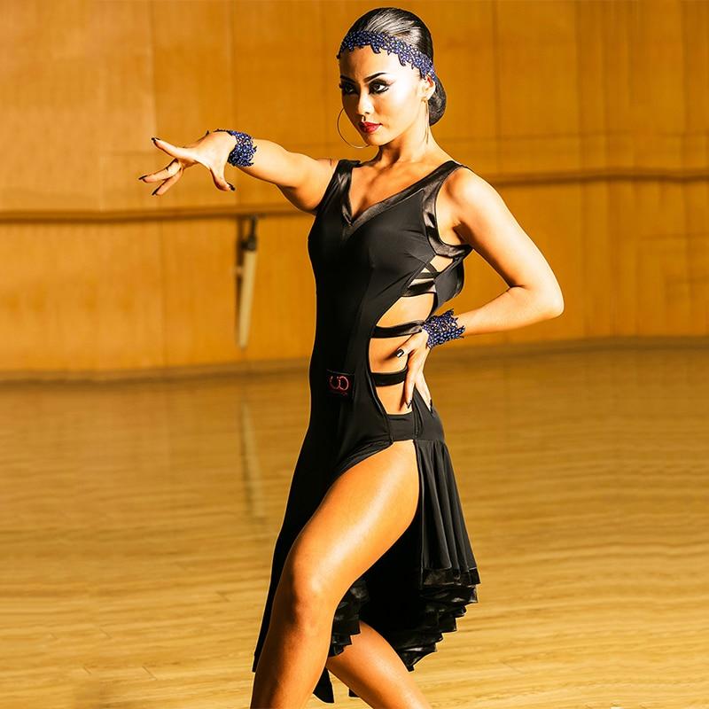 Sexy Latin Dance Dress Women Black Ballroom Tango Cha Cha Samba Rumba Salsa Competition Dresses Performance Dance Wear DC1450