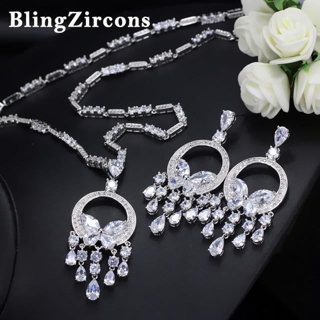 BlingZircons Luxury Women Wedding Decoration AAA Cubic Zirconia Long Tassel Crystal Necklace Earrings Costume Jewelry Sets & Aliexpress.com : Buy BlingZircons Luxury Women Wedding Decoration ...